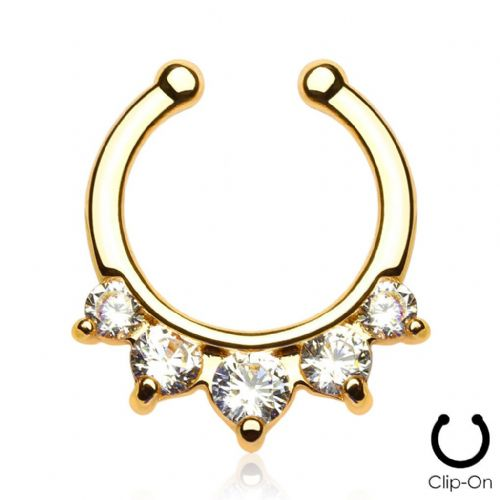 Gold Plated Five Paved Gem Non-Piercing Septum Ring / Hanger